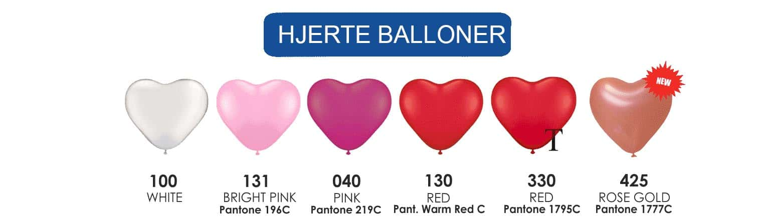 FarvekortLatex hjerteballoner