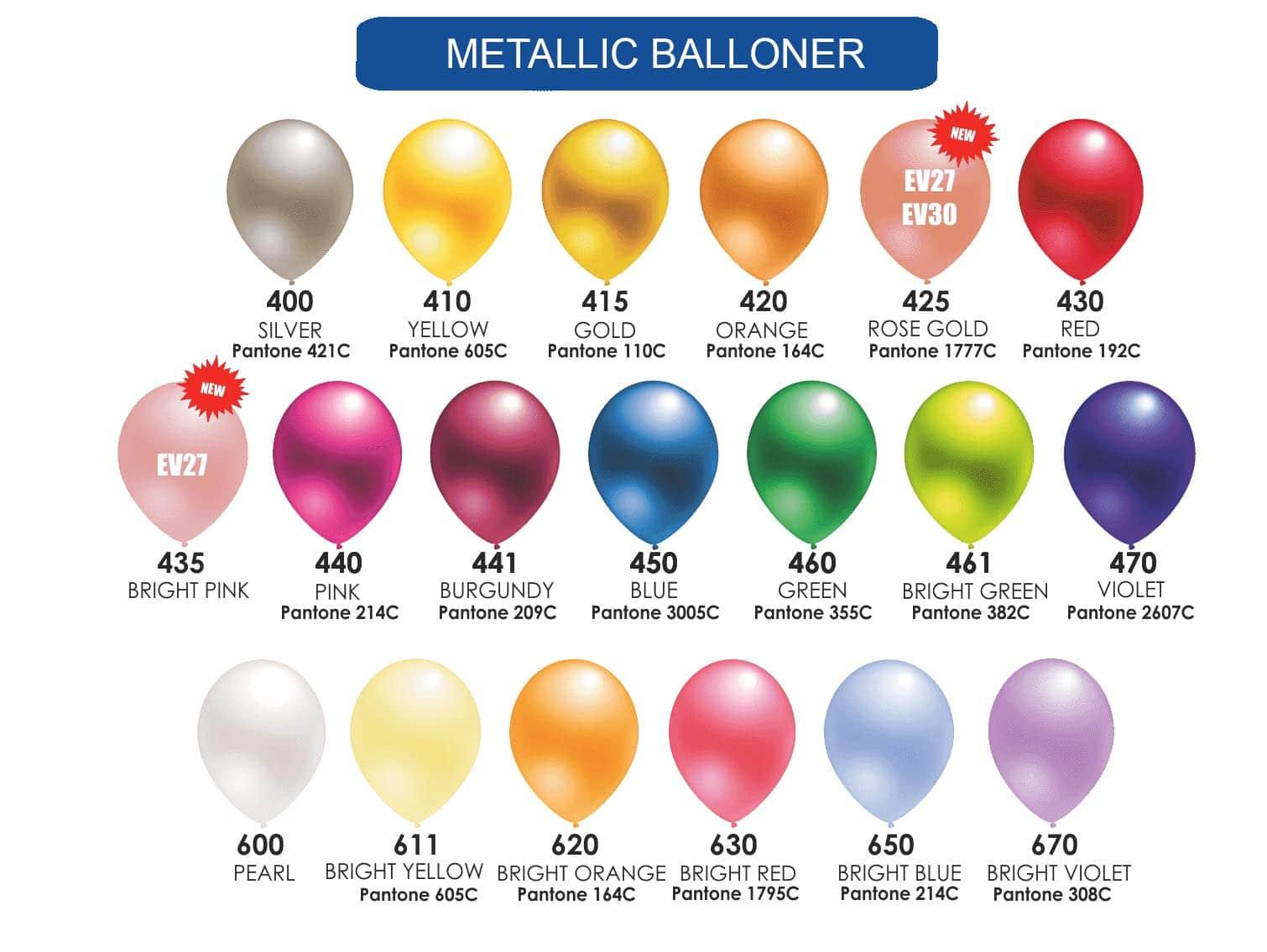 Farvekort Metallic balloner